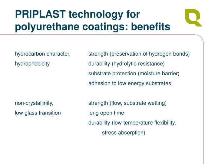 PRIPLAST technology for  polyurethane coatings: benefits