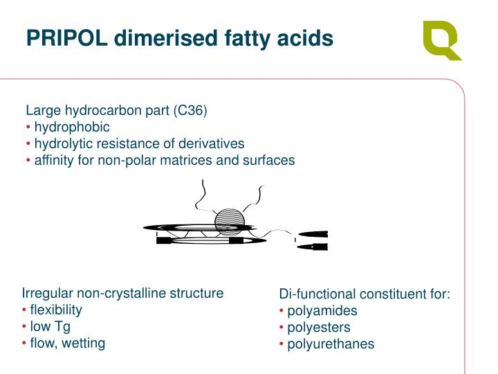 Pripol dimerised fatty acids