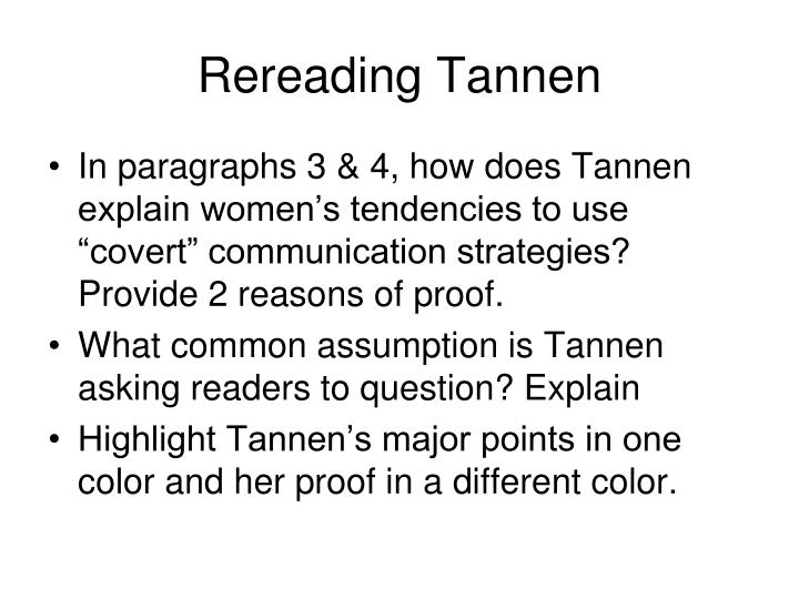 Rereading Tannen
