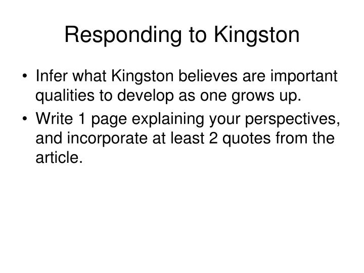 Responding to Kingston