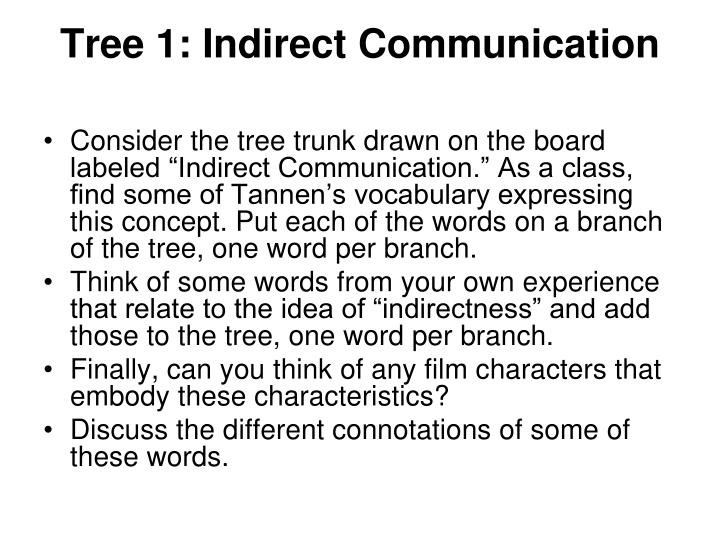 Tree 1: Indirect Communication