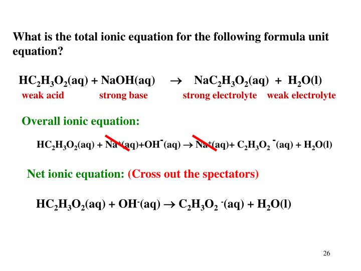 What is the total ionic equation for the following formula unit equation?