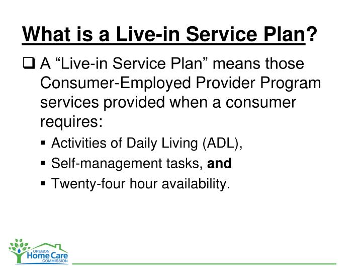 What is a Live-in Service Plan