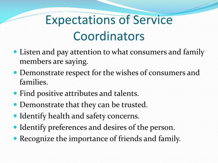 Expectations of Service Coordinators
