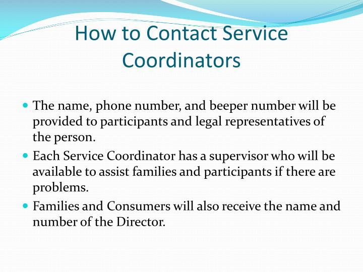 How to Contact Service Coordinators