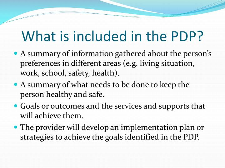 What is included in the PDP?