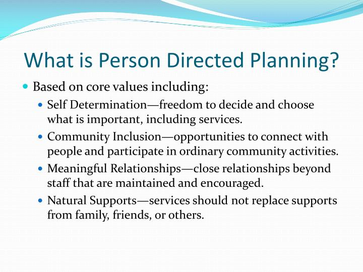 What is Person Directed Planning?
