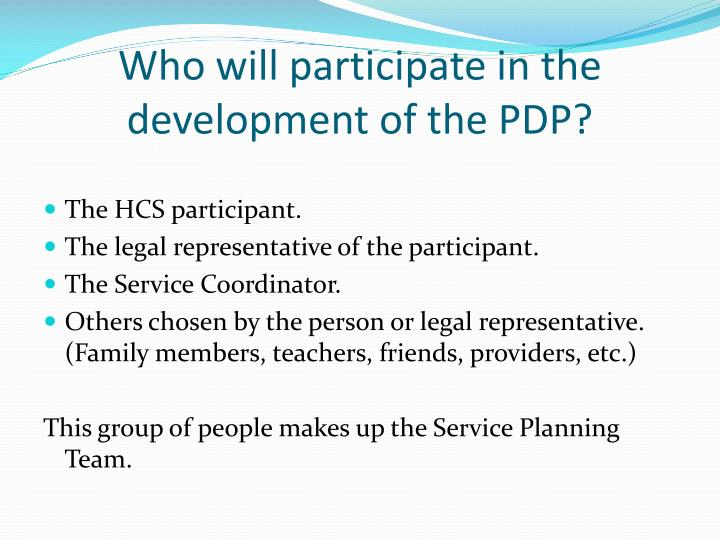 Who will participate in the development of the PDP?