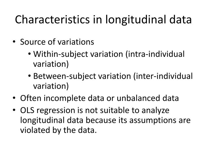 Characteristics in longitudinal data
