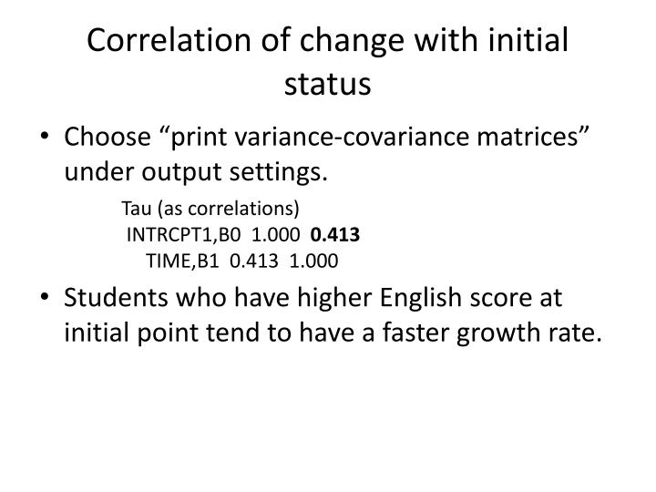 Correlation of change with initial