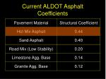 current aldot asphalt coefficients