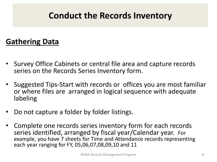 Conduct the Records Inventory