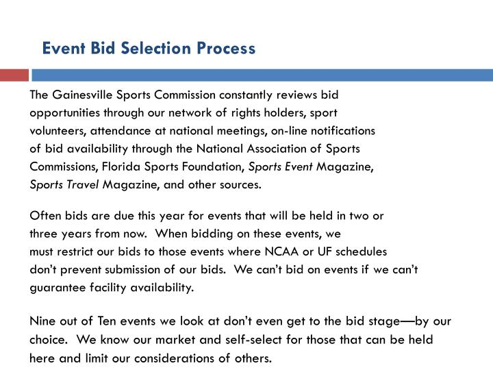 Event Bid Selection Process