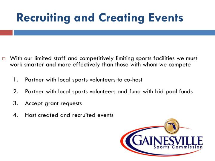 Recruiting and Creating Events