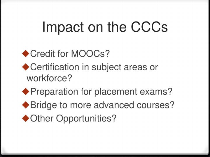 Impact on the CCCs