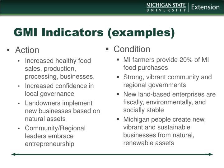GMI Indicators (examples)
