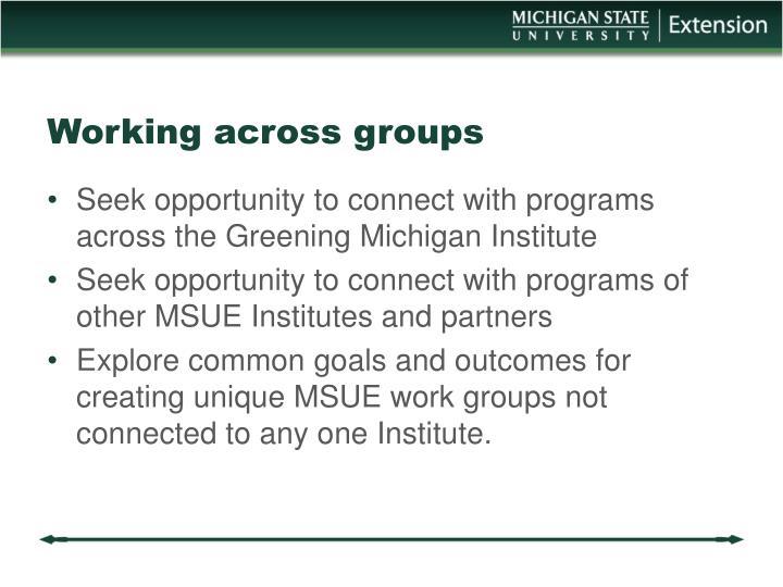 Working across groups