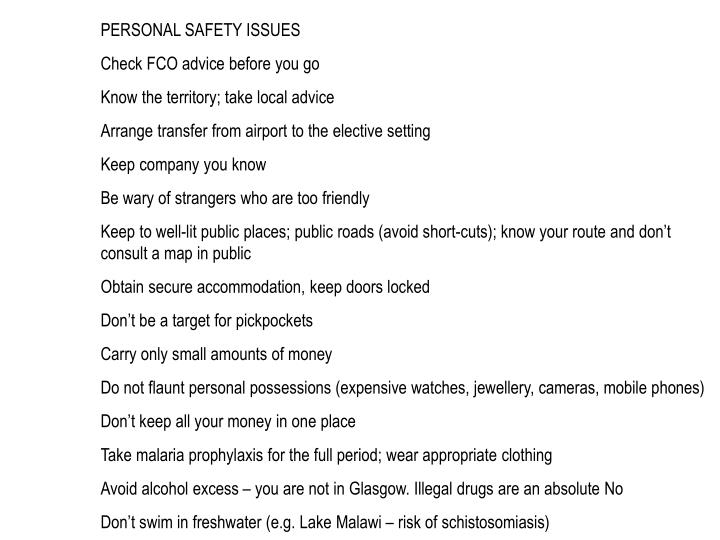 PERSONAL SAFETY ISSUES