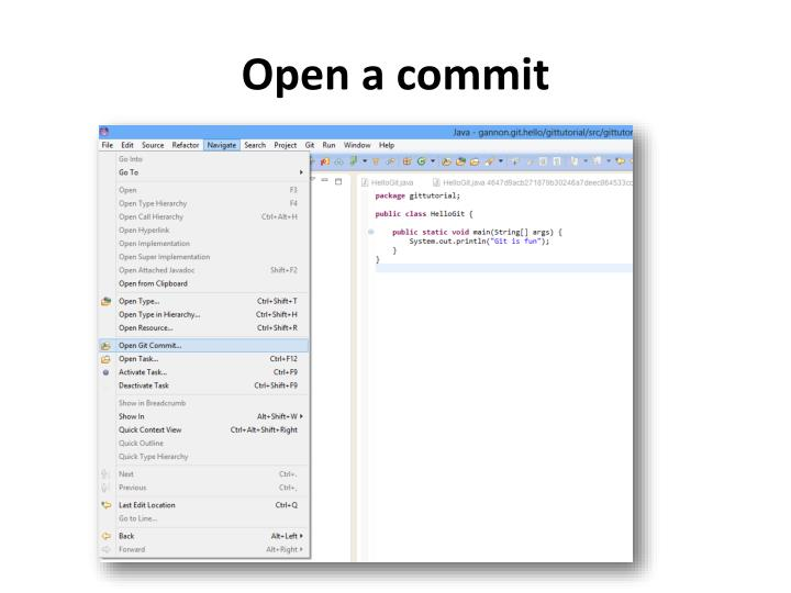 Open a commit