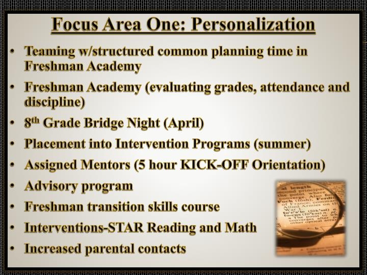 Focus Area One: Personalization