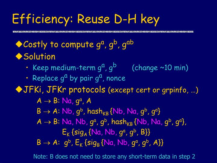 Efficiency: Reuse D-H key