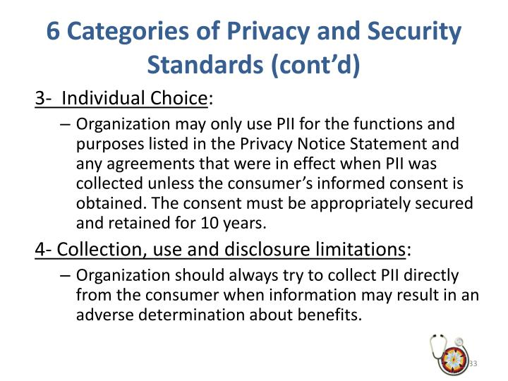 6 Categories of Privacy and Security Standards (cont'd)