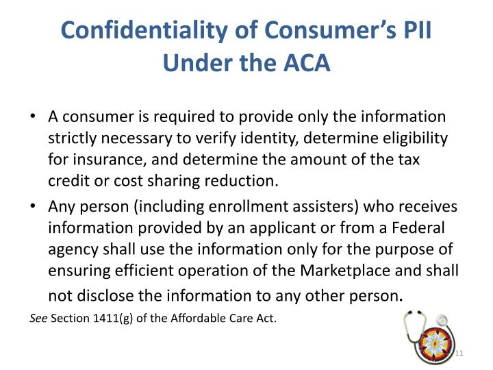Confidentiality of Consumer's PII Under the ACA