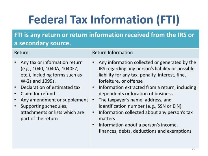 Federal Tax Information (FTI)