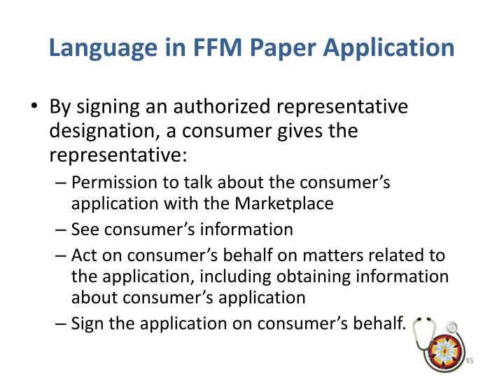 Language in FFM Paper Application