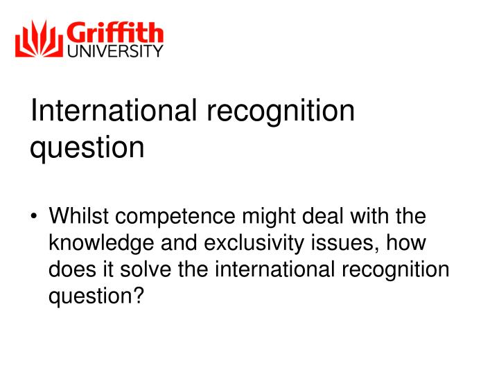 International recognition question