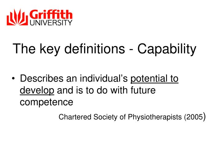 The key definitions - Capability