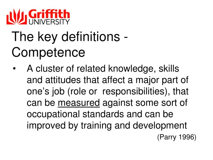 The key definitions - Competence