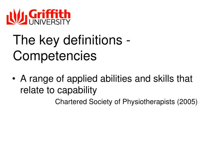 The key definitions - Competencies