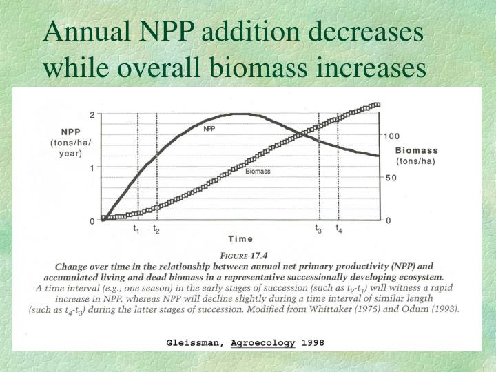 Annual NPP addition decreases while overall biomass increases