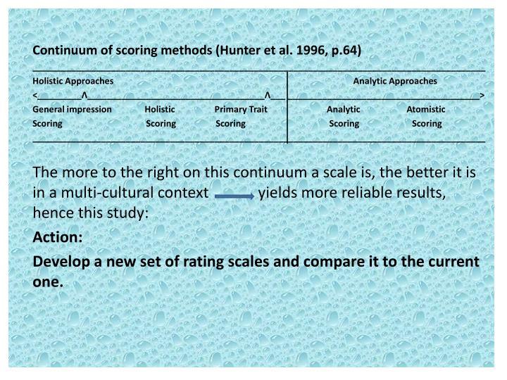 Continuum of scoring methods (Hunter et al. 1996, p.64)