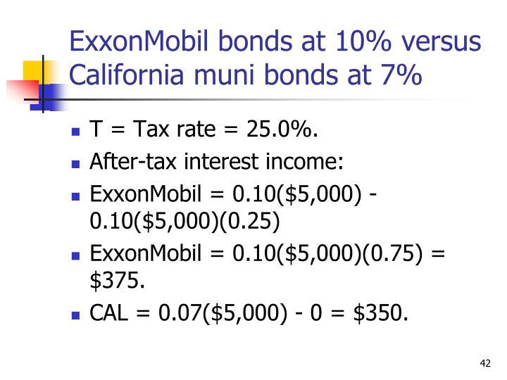 ExxonMobil bonds at 10% versus California muni bonds at 7%