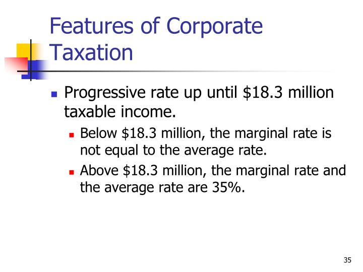 Features of Corporate Taxation