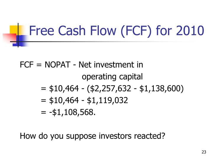 FCF = NOPAT - Net investment in