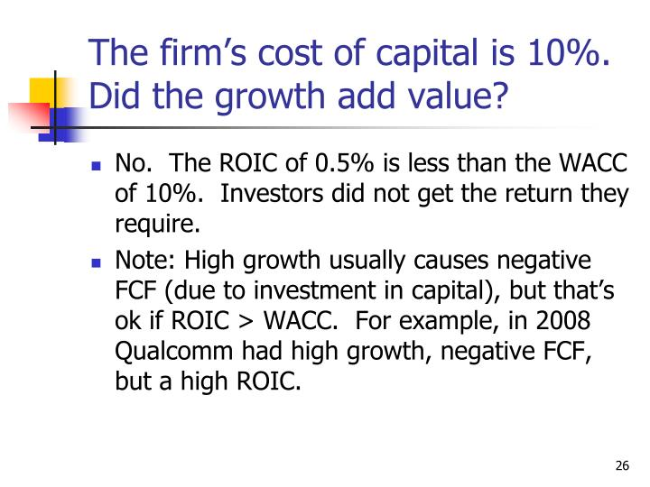 The firm's cost of capital is 10%.  Did the growth add value?