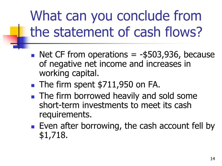 What can you conclude from the statement of cash flows?