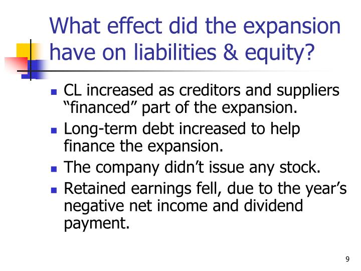 What effect did the expansion have on liabilities & equity?