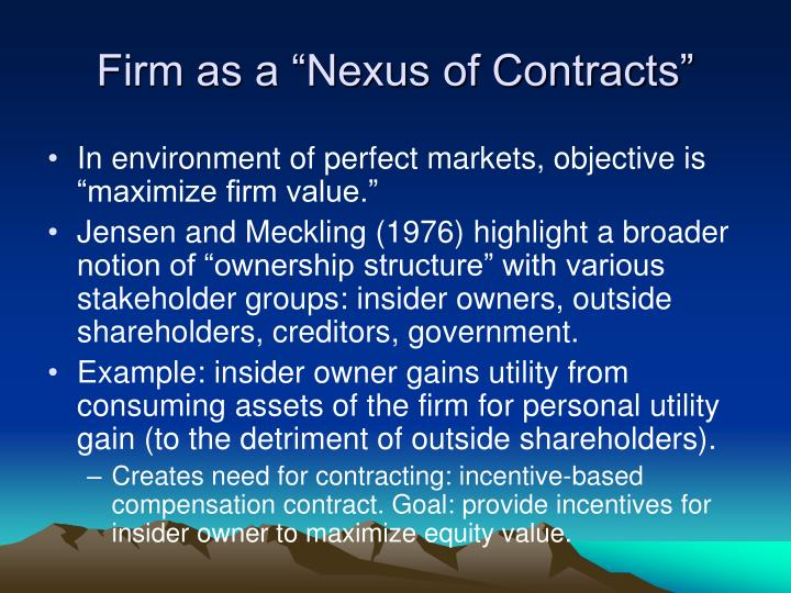 "Firm as a ""Nexus of Contracts"""