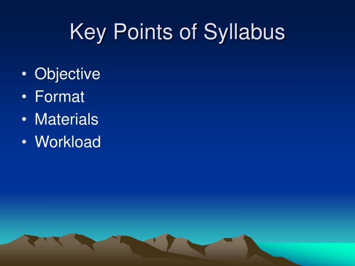Key points of syllabus