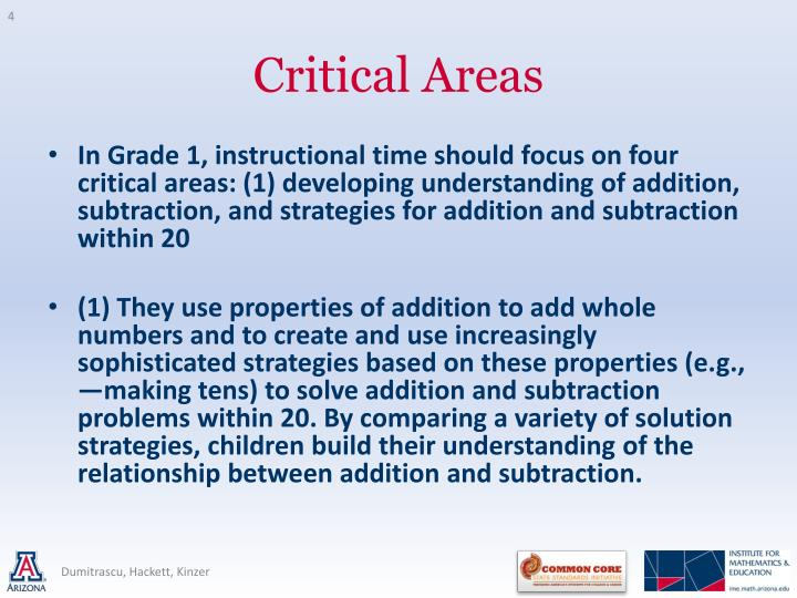 In Grade 1, instructional time should focus on four critical areas: (1) developing understanding of addition, subtraction, and strategies for addition and subtraction within 20