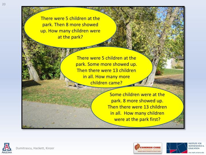 There were 5 children at the park. Then 8 more showed up. How many children were at the park?