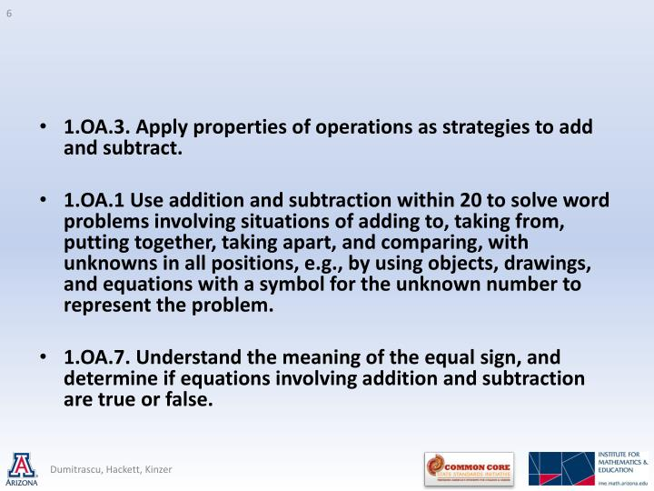 1.OA.3. Apply properties of operations as strategies to add and subtract.