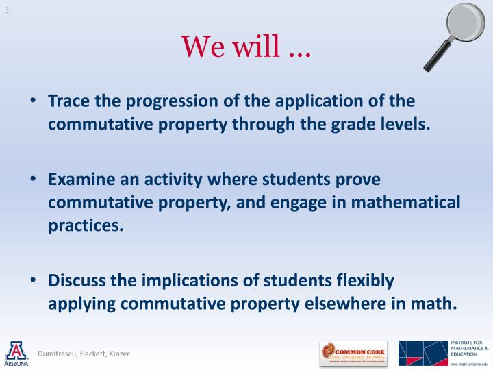 Trace the progression of the application of the commutative property through the grade levels.