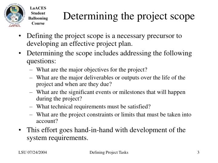 Determining the project scope