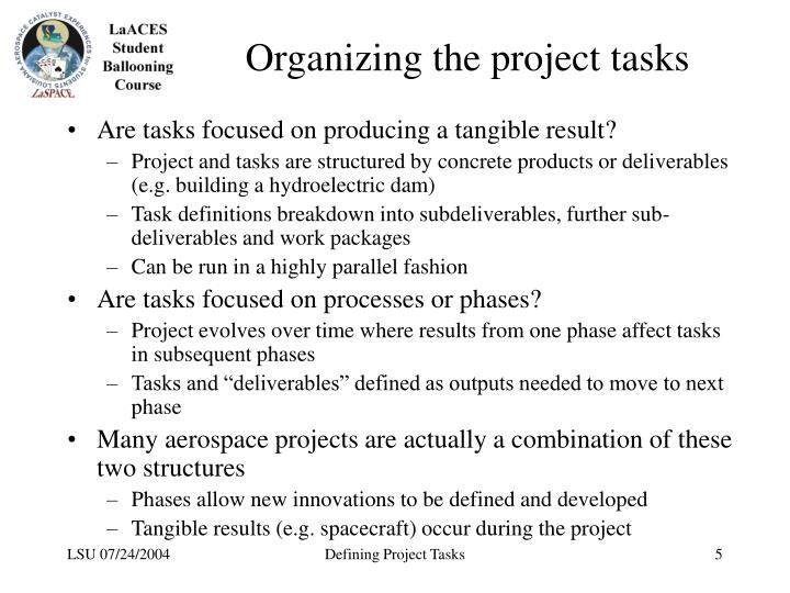 Organizing the project tasks