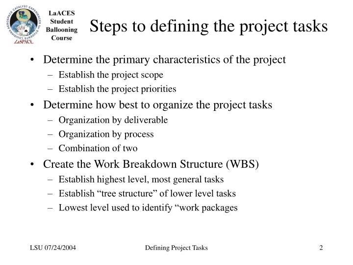 Steps to defining the project tasks